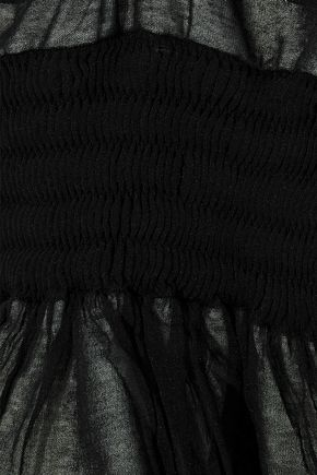 ALEXANDER WANG Shirred layered open-knit cotton-blend top
