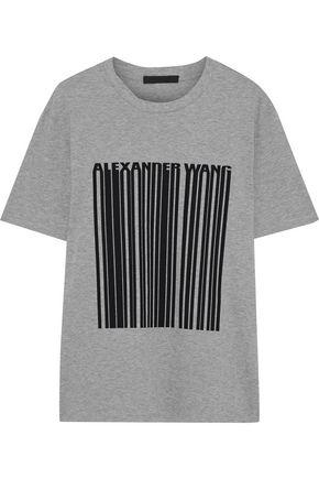 ALEXANDER WANG Printed mélange cotton-jersey T-shirt