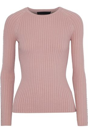 ALEXANDER WANG Bead-embellished ribbed cotton-blend sweater
