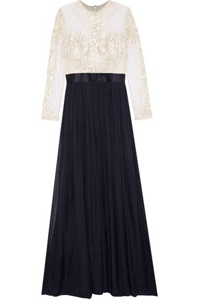 CATHERINE DEANE Embroidered tulle and silk-chiffon gown