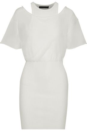 ALEXANDER WANG Layered open-knit and ribbed cotton-blend mini dress