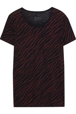 RTA Metallic zebra-print cotton and cashmere-blend T-shirt