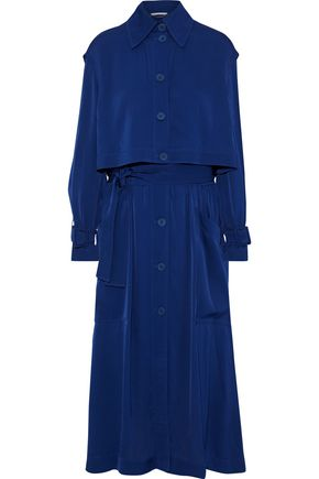 STELLA McCARTNEY Layered shirred satin-crepe midi dress