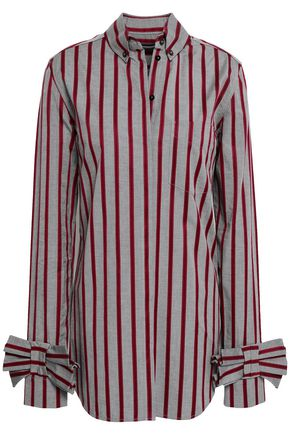 VICTORIA, VICTORIA BECKHAM Bow-embellished striped cotton-poplin shirt