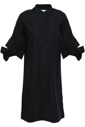 VICTORIA, VICTORIA BECKHAM Bow-detailed cotton-poplin mini shirt dress