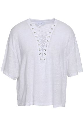 IRO Lace-up slub linen-jersey T-shirt