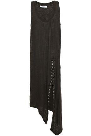 IRO Asymmetric lace-up slub linen-jersey dress