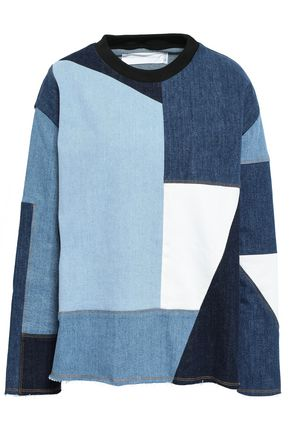 VICTORIA, VICTORIA BECKHAM Patchwork-effect denim top