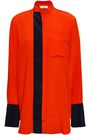 VICTORIA, VICTORIA BECKHAM Two-tone silk crepe de chine shirt
