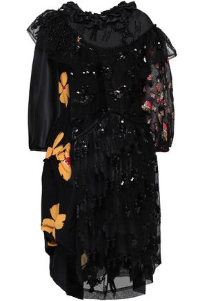 SIMONE ROCHA Embellished tulle and crepe de chine dress