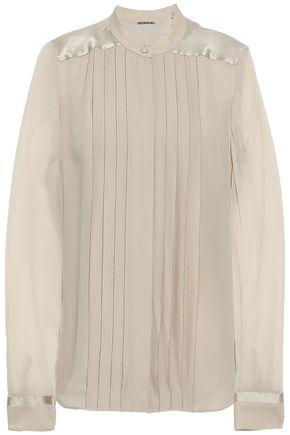ELIE TAHARI Bead-embellished pleated silk blouse