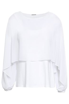 ELIE TAHARI Draped layered georgette and stretch-jersey blouse
