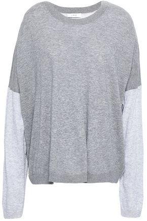 IRO Paneled mélange cotton and silk-blend top