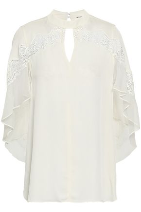 ELIE TAHARI Jaylah chiffon and lace-trimmed cutout silk crepe de chine blouse
