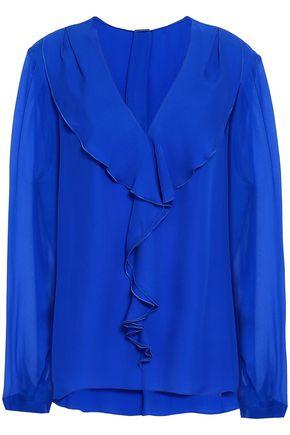 ELIE TAHARI Ruffled silk-georgette and crepe blouse