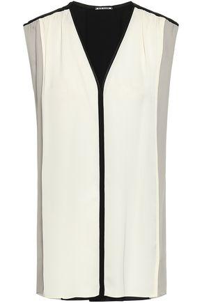 ELIE TAHARI Paneled color-block silk crepe de chine top