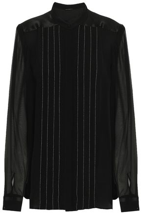 ELIE TAHARI Gilberta chiffon-paneled bead-embellished silk crepe de chine blouse