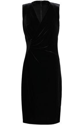 ELIE TAHARI Wrap-effect velvet dress