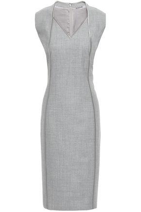 ELIE TAHARI Satin-trimmed wool-blend dress