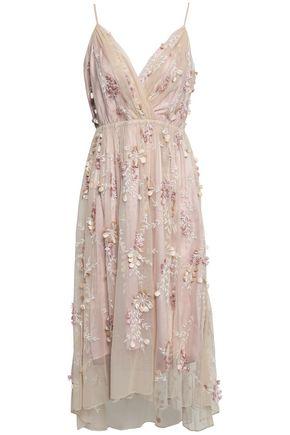 ELIE TAHARI Floral-appliquéd embroidered tulle midi dress