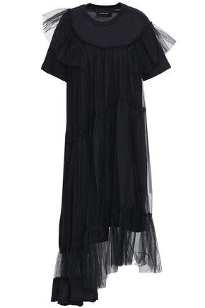 SIMONE ROCHA Asymmetric layered tulle and cotton-jersey midi dress
