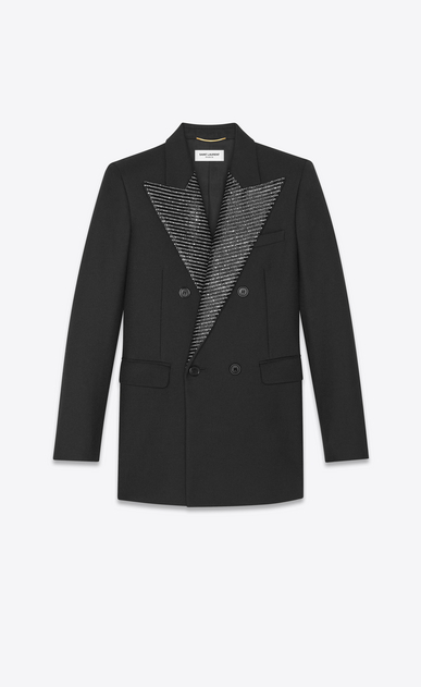 Blazer with bead- and crystal-embroidered collar