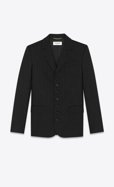 "Seven-button blazer with ""gangster lamé"" stripes"