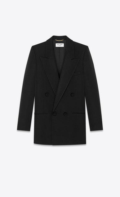 Tuxedo blazer in Saint Laurent grain de poudre with passementerie buttons