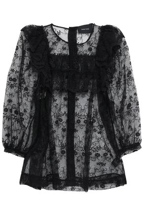 SIMONE ROCHA Ruffle-trimmed embroidered tulle blouse