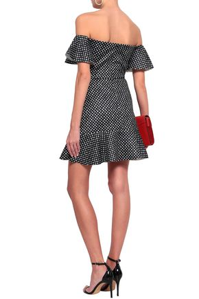 SALONI Amelia off-the-shoulder polka-dot neoprene mini dress