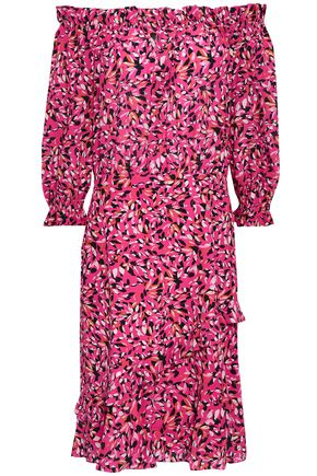 SALONI Off-the-shoulder floral-print silk crepe de chine dress