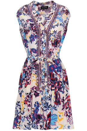 SALONI Belted printed silk dress