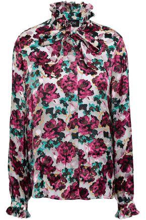 SALONI Emilie pussy-bow floral-print devoré-chiffon shirt
