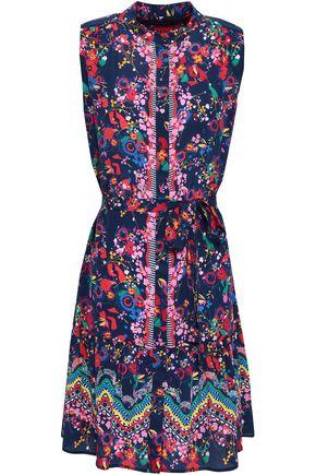 SALONI Belted floral-print silk-crepe mini dress