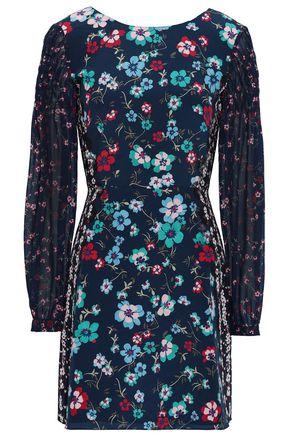 SALONI Chiffon-paneled floral-print silk crepe de chine mini dress