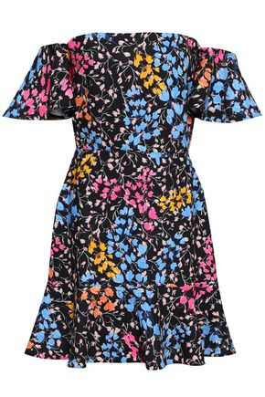 SALONI Off-the-shoulder ruffled floral-print cady mini dress
