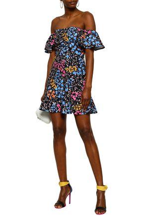 Saloni Off-the-shoulder Ruffled Floral-print Cady Mini Dress In Black