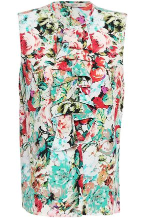 ETRO Ruffled floral-print silk top