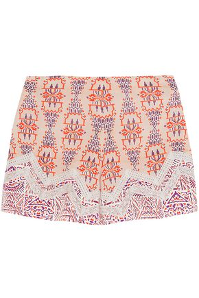 ETRO Crochet-trimmed printed silk crepe de chine shorts