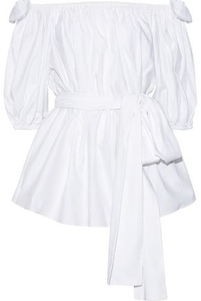 STELLA McCARTNEY Michelle off-the-shoulder belted cotton-poplin blouse
