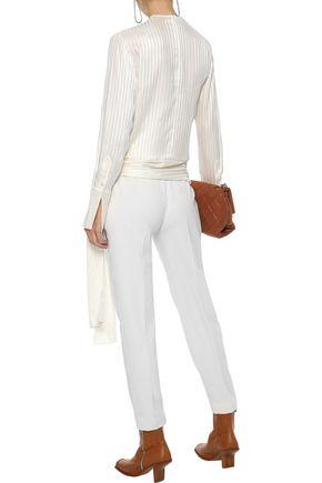 STELLA McCARTNEY Bow-detailed striped silk-jacquard blouse