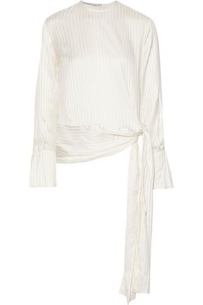 STELLA McCARTNEY Bow-detailed striped silk-jacquard blouse