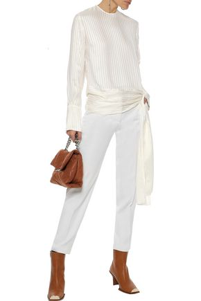 STELLA McCARTNEY Bow-detailed striped silk-jacquard blouse dd4f02ac5