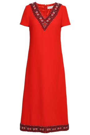 GOAT Embellished wool-crepe midi dress