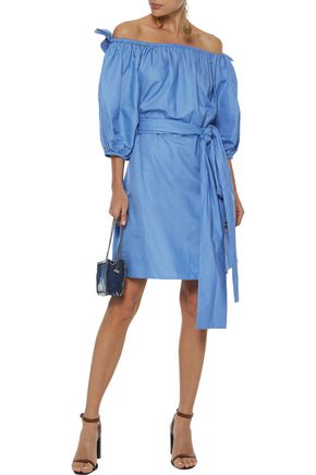 STELLA McCARTNEY Aubrie off-the-shoulder belted taffeta dress