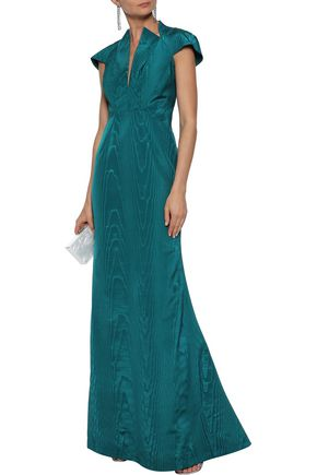 ZAC POSEN Open-back fluted moire gown