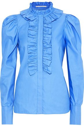 STELLA McCARTNEY Shaylee ruffle-trimmed cotton-poplin shirt