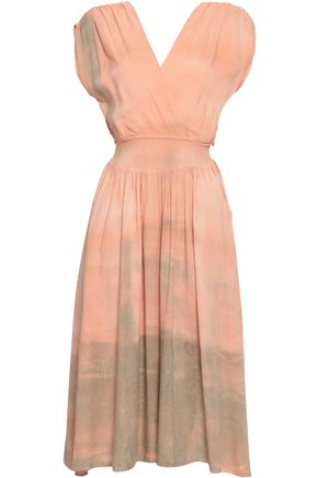 KAIN Wrap-effect tie-dyed woven midi dress