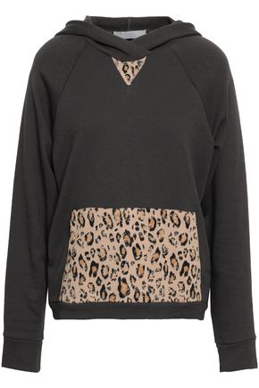 KAIN Leopard print-paneled cotton-fleece hooded sweatshirt