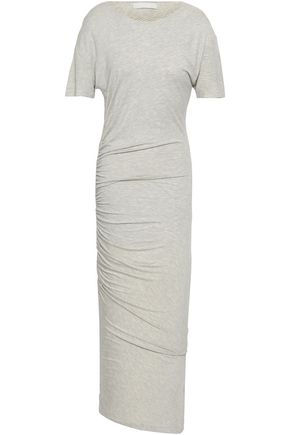 KAIN Ruched striped cotton and modal-blend midi dress